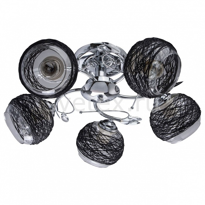 Люстра на штанге De MarktТекстильные плафоны<br>Артикул - MW_677012105,Бренд - De Markt (Германия),Коллекция - Грация 36,Гарантия, месяцы - 24,Высота, мм - 220,Диаметр, мм - 550,Тип лампы - компактная люминесцентная [КЛЛ] ИЛИнакаливания ИЛИсветодиодная [LED],Общее кол-во ламп - 5,Напряжение питания лампы, В - 220,Максимальная мощность лампы, Вт - 60,Лампы в комплекте - отсутствуют,Цвет плафонов и подвесок - неокрашенный, черный,Тип поверхности плафонов - матовый, прозрачный,Материал плафонов и подвесок - бечевка, стекло,Цвет арматуры - хром,Тип поверхности арматуры - глянцевый,Материал арматуры - металл,Количество плафонов - 5,Возможность подлючения диммера - можно, если установить лампу накаливания,Тип цоколя лампы - E27,Класс электробезопасности - I,Общая мощность, Вт - 300,Степень пылевлагозащиты, IP - 20,Диапазон рабочих температур - комнатная температура,Дополнительные параметры - способ крепления светильника к потолку – на монтажной пластине<br>