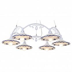 Подвесная люстра Arte LampПолимерные плафоны<br>Артикул - AR_A6473LM-6WH,Бренд - Arte Lamp (Италия),Коллекция - Anna,Гарантия, месяцы - 24,Время изготовления, дней - 1,Высота, мм - 850,Диаметр, мм - 750,Тип лампы - компактная люминесцентная [КЛЛ] ИЛИнакаливания ИЛИсветодиодная [LED],Общее кол-во ламп - 6,Напряжение питания лампы, В - 220,Максимальная мощность лампы, Вт - 40,Лампы в комплекте - отсутствуют,Цвет плафонов и подвесок - белый с синим рисунком,Тип поверхности плафонов - матовый, рельефный,Материал плафонов и подвесок - керамика,Цвет арматуры - белый,Тип поверхности арматуры - матовый,Материал арматуры - металл,Возможность подлючения диммера - можно, если установить лампу накаливания,Тип цоколя лампы - E27,Класс электробезопасности - I,Общая мощность, Вт - 240,Степень пылевлагозащиты, IP - 20,Диапазон рабочих температур - комнатная температура<br>