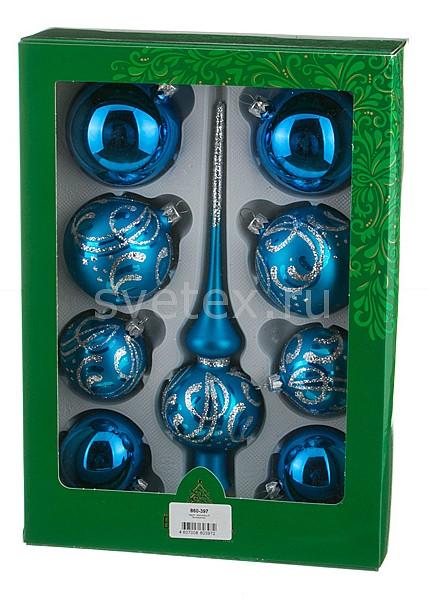 Фото Набор из 9 елочных игрушек с верхушкой