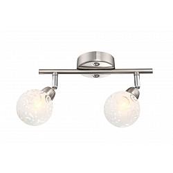 Спот GloboС 2 лампами<br>Артикул - GB_56392-2,Бренд - Globo (Австрия),Коллекция - Orlene,Гарантия, месяцы - 24,Тип лампы - галогеновая,Общее кол-во ламп - 2,Напряжение питания лампы, В - 220,Максимальная мощность лампы, Вт - 28,Лампы в комплекте - галогеновые G9,Цвет плафонов и подвесок - белый с неокрашенным рисунком,Тип поверхности плафонов - матовый,Материал плафонов и подвесок - стекло,Цвет арматуры - никель, хром,Тип поверхности арматуры - глянцевый, матовый,Материал арматуры - металл,Количество плафонов - 2,Возможность подлючения диммера - можно,Тип цоколя лампы - G9,Класс электробезопасности - I,Общая мощность, Вт - 56,Степень пылевлагозащиты, IP - 20,Диапазон рабочих температур - комнатная температура,Дополнительные параметры - поворотный светильник<br>