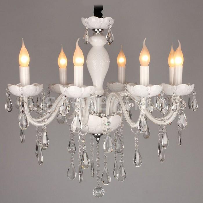 Подвесная люстра OmniluxБолее 6 ламп<br>Артикул - OM_OML-33103-08,Бренд - Omnilux (Италия),Коллекция - OM-331,Гарантия, месяцы - 24,Время изготовления, дней - 1,Высота, мм - 1700,Диаметр, мм - 600,Тип лампы - компактная люминесцентная [КЛЛ] ИЛИнакаливания ИЛИсветодиодная [LED],Общее кол-во ламп - 8,Напряжение питания лампы, В - 220,Максимальная мощность лампы, Вт - 40,Лампы в комплекте - отсутствуют,Цвет плафонов и подвесок - неокрашенный,Тип поверхности плафонов - прозрачный,Материал плафонов и подвесок - хрусталь,Цвет арматуры - белый,Тип поверхности арматуры - глянцевый, рельефный,Материал арматуры - металл, стекло,Возможность подлючения диммера - можно, если установить лампу накаливания,Форма и тип колбы - свеча ИЛИ свеча на ветру,Тип цоколя лампы - E14,Класс электробезопасности - I,Общая мощность, Вт - 320,Степень пылевлагозащиты, IP - 20,Диапазон рабочих температур - комнатная температура<br>