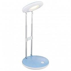 Настольная лампа GloboПолимерные<br>Артикул - GB_58388,Бренд - Globo (Австрия),Коллекция - Eloen I,Гарантия, месяцы - 24,Высота, мм - 355,Диаметр, мм - 126,Размер упаковки, мм - 130х50х310,Тип лампы - светодиодная [LED],Общее кол-во ламп - 1,Напряжение питания лампы, В - 220,Максимальная мощность лампы, Вт - 2.5,Лампы в комплекте - светодиодная [LED],Цвет плафонов и подвесок - белый, голубой,Тип поверхности плафонов - матовый,Материал плафонов и подвесок - полимер,Цвет арматуры - белый, голубой, хром,Тип поверхности арматуры - глянцевый, матовый, металлик,Материал арматуры - металл,Класс электробезопасности - II,Степень пылевлагозащиты, IP - 20,Диапазон рабочих температур - комнатная температура,Дополнительные параметры - поворотный светильник<br>