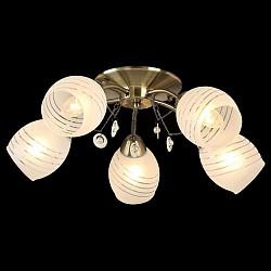 Потолочная люстра Оптима5 или 6 ламп<br>Артикул - EV_76627,Бренд - Оптима (Китай),Коллекция - Лаура,Гарантия, месяцы - 24,Высота, мм - 170,Диаметр, мм - 570,Тип лампы - компактная люминесцентная [КЛЛ] ИЛИнакаливания ИЛИсветодиодная [LED],Общее кол-во ламп - 5,Напряжение питания лампы, В - 220,Максимальная мощность лампы, Вт - 60,Лампы в комплекте - отсутствуют,Цвет плафонов и подвесок - белый полосатый,Тип поверхности плафонов - матовый,Материал плафонов и подвесок - стекло,Цвет арматуры - бронза античная,Тип поверхности арматуры - матовый,Материал арматуры - металл,Возможность подлючения диммера - можно, если установить лампу накаливания,Тип цоколя лампы - E27,Класс электробезопасности - I,Общая мощность, Вт - 300,Степень пылевлагозащиты, IP - 20,Диапазон рабочих температур - комнатная температура,Дополнительные параметры - способ крепления светильника к потолку - на монтажной пластине<br>