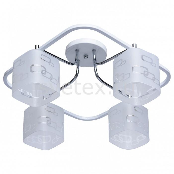 Потолочная люстра De MarktЛюстры<br>Артикул - MW_673010304,Бренд - De Markt (Германия),Коллекция - Тетро 2,Гарантия, месяцы - 24,Длина, мм - 530,Ширина, мм - 530,Высота, мм - 260,Тип лампы - компактная люминесцентная [КЛЛ] ИЛИнакаливания ИЛИсветодиодная [LED],Общее кол-во ламп - 4,Напряжение питания лампы, В - 220,Максимальная мощность лампы, Вт - 60,Лампы в комплекте - отсутствуют,Цвет плафонов и подвесок - белый с неокрашенным рисунком,Тип поверхности плафонов - матовый, прозрачный,Материал плафонов и подвесок - стекло,Цвет арматуры - белый, хром,Тип поверхности арматуры - матовый,Материал арматуры - металл,Количество плафонов - 4,Возможность подлючения диммера - можно, если установить лампу накаливания,Тип цоколя лампы - E14,Класс электробезопасности - I,Общая мощность, Вт - 240,Степень пылевлагозащиты, IP - 20,Диапазон рабочих температур - комнатная температура,Дополнительные параметры - способ крепления светильника к потолку - на монтажной пластине<br>
