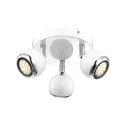 Спот GloboС 3 лампами<br>Артикул - GB_57882-3,Бренд - Globo (Австрия),Коллекция - Oman,Гарантия, месяцы - 24,Время изготовления, дней - 1,Диаметр, мм - 180,Тип лампы - светодиодная [LED],Общее кол-во ламп - 3,Напряжение питания лампы, В - 230,Максимальная мощность лампы, Вт - 2.5,Лампы в комплекте - светодиодные [LED] GU10,Цвет плафонов и подвесок - белый с хромированной каймой,Тип поверхности плафонов - глянцевый, матовый,Материал плафонов и подвесок - металл,Цвет арматуры - белый, хром,Тип поверхности арматуры - глянцевый, матовый,Материал арматуры - металл,Возможность подлючения диммера - нельзя,Форма и тип колбы - полусферическая с рефлектором,Тип цоколя лампы - GU10,Класс электробезопасности - I,Общая мощность, Вт - 7,Степень пылевлагозащиты, IP - 20,Диапазон рабочих температур - комнатная температура,Дополнительные параметры - поворотный светильник<br>