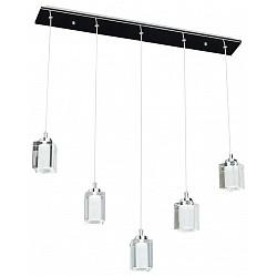 Подвесной светильник ChiaroБолее 1 плафона<br>Артикул - CH_392015110,Бренд - Chiaro (Германия),Коллекция - Фьюжен 5,Гарантия, месяцы - 24,Высота, мм - 1200,Тип лампы - галогеновая ИЛИсветодиодная [LED],Общее кол-во ламп - 5,Напряжение питания лампы, В - 12,Максимальная мощность лампы, Вт - 20,Лампы в комплекте - отсутствуют,Цвет плафонов и подвесок - неокрашенный,Тип поверхности плафонов - матовый, прозрачный,Материал плафонов и подвесок - хрусталь,Цвет арматуры - хром,Тип поверхности арматуры - глянцевый,Материал арматуры - металл,Форма и тип колбы - пальчиковая,Тип цоколя лампы - G4,Класс электробезопасности - I,Общая мощность, Вт - 100,Степень пылевлагозащиты, IP - 20,Диапазон рабочих температур - комнатная температура,Дополнительные параметры - способ крепления светильника к потолоку - на монтажной пластине, регулируется по высоте, светильник декорирован 5 светодиодами общей мощностью 15 Вт<br>