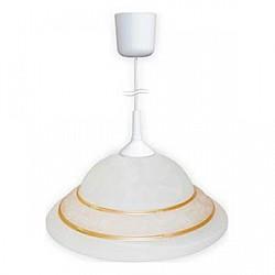 Подвесной светильник MaxelДля кухни<br>Артикул - MK_1005250348,Бренд - Maxel (Россия),Коллекция - G 99,Гарантия, месяцы - 24,Высота, мм - 135,Диаметр, мм - 310,Тип лампы - компактная люминесцентная [КЛЛ] ИЛИнакаливания ИЛИсветодиодная  [LED],Общее кол-во ламп - 1,Напряжение питания лампы, В - 220,Максимальная мощность лампы, Вт - 60,Лампы в комплекте - отсутствуют,Цвет плафонов и подвесок - белый с золотой окантовкой,Тип поверхности плафонов - матовый,Материал плафонов и подвесок - стекло,Цвет арматуры - белый,Тип поверхности арматуры - матовый,Материал арматуры - металл,Возможность подлючения диммера - можно, если установить лампу накаливания,Тип цоколя лампы - E27,Класс электробезопасности - I,Степень пылевлагозащиты, IP - 20,Диапазон рабочих температур - комнатная температура,Дополнительные параметры - способ крепления светильник к потолку - на монтажной пластине, указана высота светильника без подвеса<br>