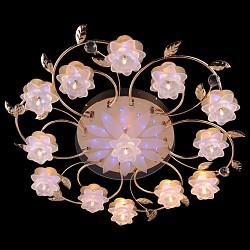 Потолочная люстра EurosvetПолимерные плафоны<br>Артикул - EV_5231,Бренд - Eurosvet (Китай),Коллекция - 4898,Гарантия, месяцы - 24,Время изготовления, дней - 1,Высота, мм - 160,Диаметр, мм - 850,Тип лампы - галогеновая,Общее кол-во ламп - 13,Напряжение питания лампы, В - 12,Максимальная мощность лампы, Вт - 20,Лампы в комплекте - галогеновые G4,Цвет плафонов и подвесок - белый, неокрашенный,Тип поверхности плафонов - матовый,Материал плафонов и подвесок - полимер, хрусталь,Цвет арматуры - золото,Тип поверхности арматуры - глянцевый,Материал арматуры - металл,Возможность подлючения диммера - нельзя,Форма и тип колбы - пальчиковая,Тип цоколя лампы - G4,Общая мощность, Вт - 260,Степень пылевлагозащиты, IP - 20,Диапазон рабочих температур - комнатная температура,Дополнительные параметры - светильник декорирован 57 RGB светодиодами общей мощностью 7.41 Вт<br>