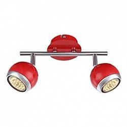 Спот GloboС 2 лампами<br>Артикул - GB_57885-2O,Бренд - Globo (Австрия),Коллекция - Oman,Гарантия, месяцы - 24,Размер упаковки, мм - 255x140x110,Тип лампы - галогеновая ИЛИсветодиодная [LED],Общее кол-во ламп - 2,Напряжение питания лампы, В - 220,Максимальная мощность лампы, Вт - 50,Лампы в комплекте - отсутствуют,Цвет плафонов и подвесок - красный с хромированной каймой,Тип поверхности плафонов - глянцевый, матовый,Материал плафонов и подвесок - металл,Цвет арматуры - красный, хром,Тип поверхности арматуры - глянцевый, матовый,Материал арматуры - металл,Возможность подлючения диммера - нельзя,Форма и тип колбы - полусферическая с рефлектором,Тип цоколя лампы - GU10,Класс электробезопасности - I,Степень пылевлагозащиты, IP - 20,Диапазон рабочих температур - комнатная температура,Дополнительные параметры - способ крепления светильника к потолку и стене - на монтажной пластине, поворотный светильник<br>