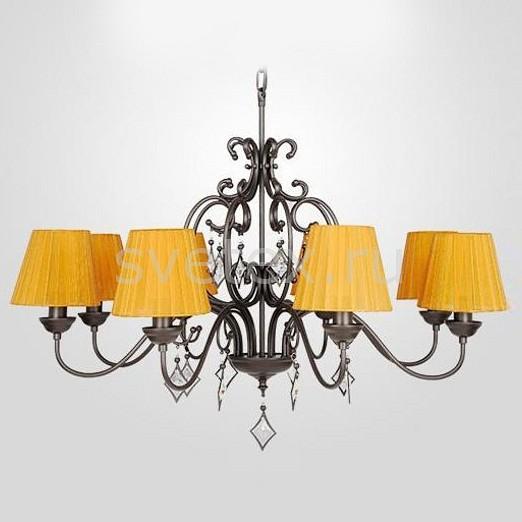 Подвесная люстра EurosvetСветильники<br>Артикул - EV_78705,Бренд - Eurosvet (Китай),Коллекция - 60054,Гарантия, месяцы - 24,Высота, мм - 560-860,Диаметр, мм - 820,Тип лампы - компактная люминесцентная [КЛЛ] ИЛИнакаливания ИЛИсветодиодная [LED],Общее кол-во ламп - 8,Напряжение питания лампы, В - 220,Максимальная мощность лампы, Вт - 40,Лампы в комплекте - отсутствуют,Цвет плафонов и подвесок - неокрашенный, оранжевый алебастр,Тип поверхности плафонов - матовый, прозрачный,Материал плафонов и подвесок - текстиль, хрусталь,Цвет арматуры - темно-коричневый,Тип поверхности арматуры - матовый,Материал арматуры - металл,Количество плафонов - 8,Возможность подлючения диммера - можно, если установить лампу накаливания,Тип цоколя лампы - E14,Класс электробезопасности - I,Общая мощность, Вт - 320,Степень пылевлагозащиты, IP - 20,Диапазон рабочих температур - комнатная температура,Дополнительные параметры - способ крепления светильника к потолку - на крюке, светильник регулируется по высоте<br>