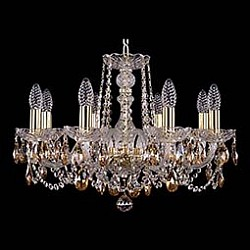 Подвесная люстра Bohemia Ivele CrystalБолее 6 ламп<br>Артикул - BI_1402_8_195_G_721,Бренд - Bohemia Ivele Crystal (Чехия),Коллекция - 1402,Гарантия, месяцы - 24,Высота, мм - 400,Диаметр, мм - 570,Размер упаковки, мм - 450x450x200,Тип лампы - компактная люминесцентная [КЛЛ] ИЛИнакаливания ИЛИсветодиодная [LED],Общее кол-во ламп - 8,Напряжение питания лампы, В - 220,Максимальная мощность лампы, Вт - 40,Лампы в комплекте - отсутствуют,Цвет плафонов и подвесок - коньячный, неокрашенный,Тип поверхности плафонов - прозрачный,Материал плафонов и подвесок - хрусталь,Цвет арматуры - золото, неокрашенный,Тип поверхности арматуры - глянцевый, прозрачный, рельефный,Материал арматуры - металл, стекло,Возможность подлючения диммера - можно, если установить лампу накаливания,Форма и тип колбы - свеча ИЛИ свеча на ветру,Тип цоколя лампы - E14,Класс электробезопасности - I,Общая мощность, Вт - 320,Степень пылевлагозащиты, IP - 20,Диапазон рабочих температур - комнатная температура,Дополнительные параметры - способ крепления светильника к потолку - на крюке, указана высота светильника без подвеса<br>
