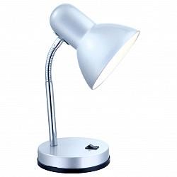 Настольная лампа GloboМеталлический плафон<br>Артикул - GB_2487,Бренд - Globo (Австрия),Коллекция - Basic,Гарантия, месяцы - 24,Высота, мм - 330,Диаметр, мм - 130,Размер упаковки, мм - 215x150x150,Тип лампы - компактная люминесцентная [КЛЛ] ИЛИнакаливания ИЛИсветодиодная [LED],Общее кол-во ламп - 1,Напряжение питания лампы, В - 220,Максимальная мощность лампы, Вт - 40,Лампы в комплекте - отсутствуют,Цвет плафонов и подвесок - серебро,Тип поверхности плафонов - матовый,Материал плафонов и подвесок - металл,Цвет арматуры - серебро, хром,Тип поверхности арматуры - глянцевый, матовый,Материал арматуры - металл, полимер,Тип цоколя лампы - E27,Класс электробезопасности - II,Степень пылевлагозащиты, IP - 20,Диапазон рабочих температур - комнатная температура,Дополнительные параметры - поворотный светильник<br>