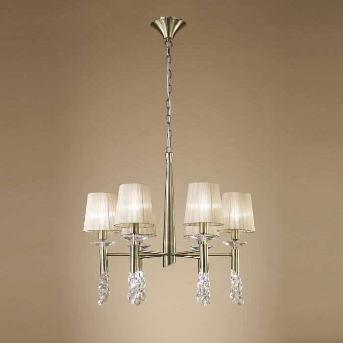 Подвесная люстра MantraТекстильные плафоны<br>Артикул - MN_3871,Бренд - Mantra (Испания),Коллекция - Tiffany,Гарантия, месяцы - 24,Время изготовления, дней - 1,Высота, мм - 600-1600,Диаметр, мм - 660,Тип лампы - галогеновая, компактная люминесцентная [КЛЛ] ИЛИсветодиодные [LED],Количество ламп - 6, 6,Общее кол-во ламп - 12,Напряжение питания лампы, В - 220,Максимальная мощность лампы, Вт - 5, 15,Лампы в комплекте - отсутствуют,Цвет плафонов и подвесок - кремовый, неокрашенный,Тип поверхности плафонов - матовый, прозрачный,Материал плафонов и подвесок - органза, хрусталь,Цвет арматуры - бронза, неокрашенный,Тип поверхности арматуры - глянцевый, прозрачный,Материал арматуры - металл, стекло,Количество плафонов - 6,Возможность подлючения диммера - можно, если установить галогеновую лампу и лампу накаливания,Тип цоколя лампы - E14, G9,Класс электробезопасности - I,Общая мощность, Вт - 120,Степень пылевлагозащиты, IP - 20,Диапазон рабочих температур - комнатная температура<br>