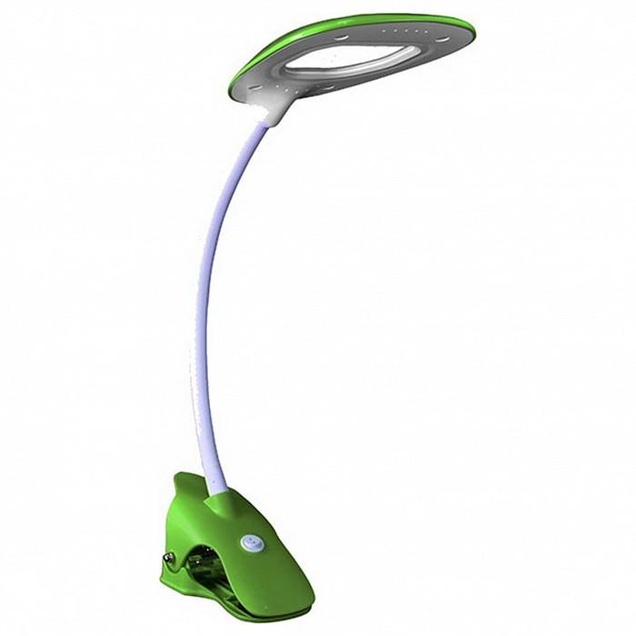 Настольная лампа Kink LightНа прищепке<br>Артикул - KL_7143.07,Бренд - Kink Light (Китай),Коллекция - Пиерия,Гарантия, месяцы - 24,Ширина, мм - 150,Высота, мм - 360,Выступ, мм - 220,Тип лампы - светодиодная [LED],Общее кол-во ламп - 1,Максимальная мощность лампы, Вт - 2.7,Цвет лампы - белый,Лампы в комплекте - светодиодная [LED],Цвет плафонов и подвесок - белый, зеленый,Тип поверхности плафонов - матовый,Материал плафонов и подвесок - полимер,Цвет арматуры - белый, зеленый,Тип поверхности арматуры - матовый,Материал арматуры - полимер,Количество плафонов - 1,Наличие выключателя, диммера или пульта ДУ - выключатель,Компоненты, входящие в комплект - провод электропитания с вилкой без заземления,Цветовая температура, K - 4000 K,Световой поток, лм - 135,Экономичнее лампы накаливания - в 7.4 раза,Светоотдача, лм/Вт - 50,Класс электробезопасности - II,Напряжение питания, В - 220,Степень пылевлагозащиты, IP - 20,Диапазон рабочих температур - комнатная температура,Дополнительные параметры - поворотный светильник, светильник на прищепке<br>