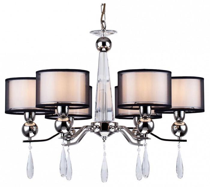 Подвесная люстра Arti LampadariТекстильные плафоны<br>Артикул - AL_Rufina_E_1.1.6.600_N,Бренд - Arti Lampadari (Италия),Коллекция - Rufina,Гарантия, месяцы - 24,Высота, мм - 500,Диаметр, мм - 720,Тип лампы - компактная люминесцентная [КЛЛ] ИЛИнакаливания ИЛИсветодиодная [LED],Общее кол-во ламп - 6,Напряжение питания лампы, В - 220,Максимальная мощность лампы, Вт - 40,Лампы в комплекте - отсутствуют,Цвет плафонов и подвесок - белый, неокрашенный, черный,Тип поверхности плафонов - матовый, прозрачный,Материал плафонов и подвесок - стекло, текстиль, хрусталь,Цвет арматуры - никель,Тип поверхности арматуры - глянцевый,Материал арматуры - металл,Количество плафонов - 6,Возможность подлючения диммера - можно, если установить лампу накаливания,Тип цоколя лампы - E14,Класс электробезопасности - I,Общая мощность, Вт - 240,Степень пылевлагозащиты, IP - 20,Диапазон рабочих температур - комнатная температура,Дополнительные параметры - способ крепления светильника к потолку - на крюке, указана высота светильника без подвеса<br>