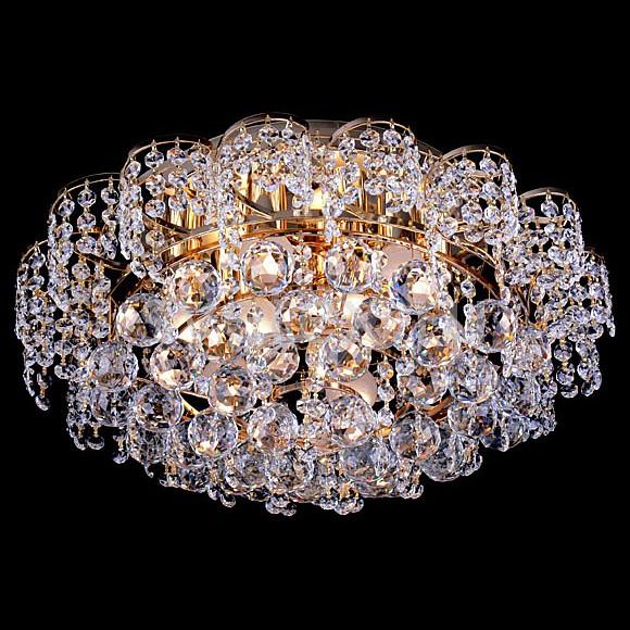 Потолочная люстра StrotskisБолее 6 ламп<br>Артикул - EV_4201,Бренд - Strotskis (Китай),Коллекция - 16017,Гарантия, месяцы - 24,Время изготовления, дней - 1,Высота, мм - 250,Диаметр, мм - 500,Тип лампы - компактная люминесцентная [КЛЛ] ИЛИнакаливания ИЛИсветодиодная [LED],Общее кол-во ламп - 9,Напряжение питания лампы, В - 220,Максимальная мощность лампы, Вт - 60,Лампы в комплекте - отсутствуют,Цвет плафонов и подвесок - неокрашенный,Тип поверхности плафонов - прозрачный,Материал плафонов и подвесок - хрусталь Strotskis,Цвет арматуры - золото,Тип поверхности арматуры - глянцевый,Материал арматуры - металл,Возможность подлючения диммера - можно, если установить галогеновую лампу и лампу накаливания,Тип цоколя лампы - E27,Общая мощность, Вт - 540,Степень пылевлагозащиты, IP - 20,Диапазон рабочих температур - комнатная температура<br>