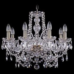 Подвесная люстра Bohemia Ivele CrystalБолее 6 ламп<br>Артикул - BI_1411_8_195_Pa,Бренд - Bohemia Ivele Crystal (Чехия),Коллекция - 1411,Гарантия, месяцы - 24,Высота, мм - 440,Диаметр, мм - 580,Размер упаковки, мм - 510x510x200,Тип лампы - компактная люминесцентная [КЛЛ] ИЛИнакаливания ИЛИсветодиодная [LED],Общее кол-во ламп - 8,Напряжение питания лампы, В - 220,Максимальная мощность лампы, Вт - 40,Лампы в комплекте - отсутствуют,Цвет плафонов и подвесок - неокрашенный,Тип поверхности плафонов - прозрачный,Материал плафонов и подвесок - хрусталь,Цвет арматуры - золото с патиной, неокрашенный,Тип поверхности арматуры - глянцевый, прозрачный, рельефный,Материал арматуры - металл, стекло,Возможность подлючения диммера - можно, если установить лампу накаливания,Форма и тип колбы - свеча ИЛИ свеча на ветру,Тип цоколя лампы - E14,Класс электробезопасности - I,Общая мощность, Вт - 320,Степень пылевлагозащиты, IP - 20,Диапазон рабочих температур - комнатная температура,Дополнительные параметры - способ крепления светильника к потолку - на крюке, указана высота светильника без подвеса<br>