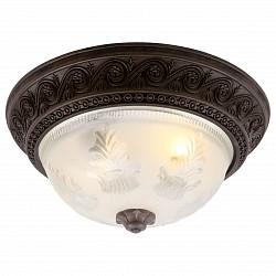Накладной светильник Arte LampКруглые<br>Артикул - AR_A8006PL-2CK,Бренд - Arte Lamp (Италия),Коллекция - Piatti,Гарантия, месяцы - 24,Высота, мм - 170,Диаметр, мм - 340,Тип лампы - компактная люминесцентная [КЛЛ] ИЛИнакаливания ИЛИсветодиодная [LED],Общее кол-во ламп - 2,Напряжение питания лампы, В - 220,Максимальная мощность лампы, Вт - 60,Лампы в комплекте - отсутствуют,Цвет плафонов и подвесок - белый с рисунком,Тип поверхности плафонов - матовый,Материал плафонов и подвесок - стекло,Цвет арматуры - шоколад,Тип поверхности арматуры - матовый, рельефный,Материал арматуры - полимер,Возможность подлючения диммера - можно, если установить лампу накаливания,Тип цоколя лампы - E27,Класс электробезопасности - I,Общая мощность, Вт - 120,Степень пылевлагозащиты, IP - 20,Диапазон рабочих температур - комнатная температура<br>