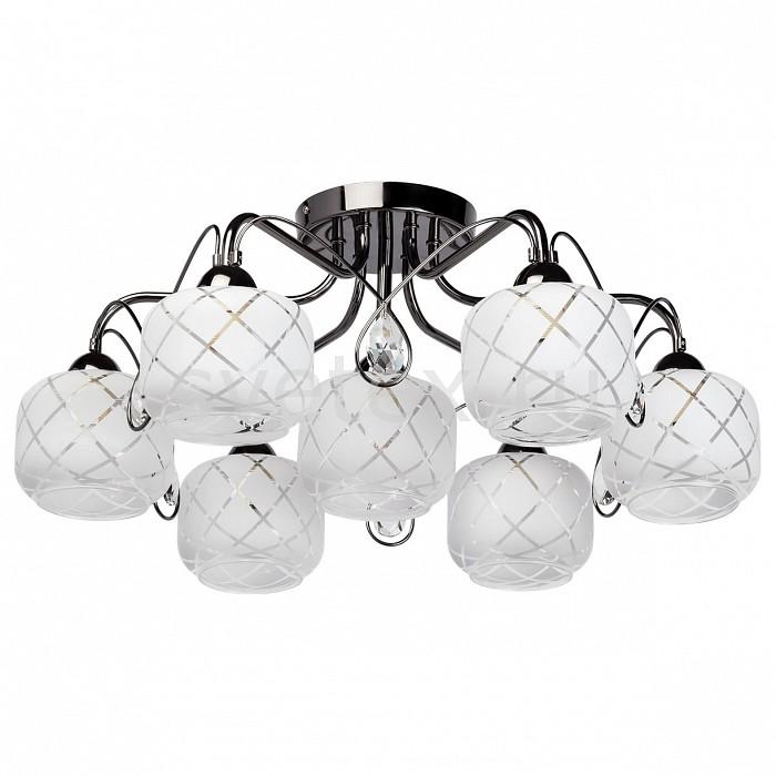 Потолочная люстра De MarktЛюстры<br>Артикул - MW_358015107,Бренд - De Markt (Германия),Коллекция - Грация 7,Гарантия, месяцы - 12,Высота, мм - 250,Диаметр, мм - 600,Размер упаковки, мм - 320x780x150,Тип лампы - компактная люминесцентная [КЛЛ] ИЛИнакаливания ИЛИсветодиодная [LED],Общее кол-во ламп - 7,Напряжение питания лампы, В - 220,Максимальная мощность лампы, Вт - 60,Лампы в комплекте - отсутствуют,Цвет плафонов и подвесок - белый с неокрашенным рисунком, неокрашенный,Тип поверхности плафонов - матовый, прозрачный,Материал плафонов и подвесок - стекло, хрусталь,Цвет арматуры - никель,Тип поверхности арматуры - глянцевый,Материал арматуры - металл,Количество плафонов - 7,Возможность подлючения диммера - можно, если установить лампу накаливания,Тип цоколя лампы - E27,Класс электробезопасности - I,Общая мощность, Вт - 420,Степень пылевлагозащиты, IP - 20,Диапазон рабочих температур - комнатная температура,Дополнительные параметры - способ крепления светильника к потолку — на монтажной пластине<br>