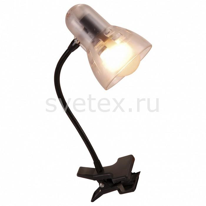 Настольная лампа GloboНа прищепке<br>Артикул - GB_54850,Бренд - Globo (Австрия),Коллекция - Clip,Гарантия, месяцы - 24,Высота, мм - 340,Выступ, мм - 110,Размер упаковки, мм - 80x160x140,Тип лампы - компактная люминесцентная [КЛЛ] ИЛИнакаливания ИЛИсветодиодная [LED],Общее кол-во ламп - 1,Напряжение питания лампы, В - 220,Максимальная мощность лампы, Вт - 40,Лампы в комплекте - отсутствуют,Цвет плафонов и подвесок - неокрашенный,Тип поверхности плафонов - прозрачный,Материал плафонов и подвесок - полимер,Цвет арматуры - черный,Тип поверхности арматуры - матовый,Материал арматуры - металл,Количество плафонов - 1,Наличие выключателя, диммера или пульта ДУ - выключатель на проводе,Компоненты, входящие в комплект - провод электропитания с вилкой без заземления,Форма и тип колбы - груша плоская с рефлектором,Тип цоколя лампы - E14,Класс электробезопасности - II,Степень пылевлагозащиты, IP - 20,Диапазон рабочих температур - комнатная температура,Дополнительные параметры - поворотный светильник на прищепке<br>