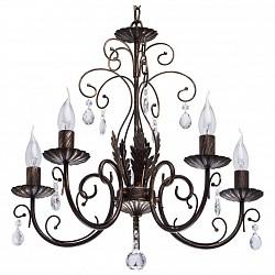 Подвесная люстра De Markt5 или 6 ламп<br>Артикул - MW_323016005,Бренд - De Markt (Германия),Коллекция - Аида 18,Гарантия, месяцы - 24,Высота, мм - 900-1200,Диаметр, мм - 550,Тип лампы - компактная люминесцентная [КЛЛ] ИЛИнакаливания ИЛИсветодиодная [LED],Общее кол-во ламп - 5,Напряжение питания лампы, В - 220,Максимальная мощность лампы, Вт - 40,Лампы в комплекте - отсутствуют,Цвет плафонов и подвесок - неокрашенный,Тип поверхности плафонов - прозрачный,Материал плафонов и подвесок - хрусталь,Цвет арматуры - коричневый,Тип поверхности арматуры - матовый,Материал арматуры - металл,Возможность подлючения диммера - можно, если установить лампу накаливания,Форма и тип колбы - свеча ИЛИ свеча на ветру,Тип цоколя лампы - E14,Класс электробезопасности - I,Общая мощность, Вт - 200,Степень пылевлагозащиты, IP - 20,Диапазон рабочих температур - комнатная температура,Дополнительные параметры - регулируется по высоте, способ крепления светильника к потолку – на крюке<br>
