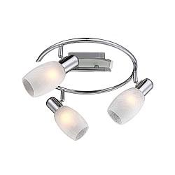 Спот GloboС 3 лампами<br>Артикул - GB_54917-3,Бренд - Globo (Австрия),Коллекция - Cyclone,Гарантия, месяцы - 24,Время изготовления, дней - 1,Диаметр, мм - 300,Тип лампы - компактная люминесцентная [КЛЛ] ИЛИнакаливания ИЛИсветодиодная [LED],Общее кол-во ламп - 3,Напряжение питания лампы, В - 220,Максимальная мощность лампы, Вт - 40,Лампы в комплекте - отсутствуют,Цвет плафонов и подвесок - белый,Тип поверхности плафонов - матовый,Материал плафонов и подвесок - стекло,Цвет арматуры - хром,Тип поверхности арматуры - глянцевый,Материал арматуры - металл,Возможность подлючения диммера - можно, если установить лампу накаливания,Форма и тип колбы - свеча,Тип цоколя лампы - E14,Класс электробезопасности - I,Общая мощность, Вт - 120,Степень пылевлагозащиты, IP - 20,Диапазон рабочих температур - комнатная температура,Дополнительные параметры - поворотный светильник<br>