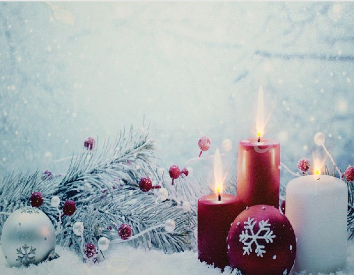 Фото Панно световое Feron x 30 см x 40 см LT114 Свечи в снегу