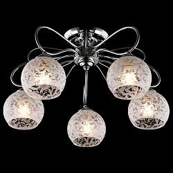 Потолочная люстра Eurosvet5 или 6 ламп<br>Артикул - EV_76400,Бренд - Eurosvet (Китай),Коллекция - Фламинго,Гарантия, месяцы - 24,Высота, мм - 290,Диаметр, мм - 520,Тип лампы - компактная люминесцентная [КЛЛ] ИЛИнакаливания ИЛИсветодиодная [LED],Общее кол-во ламп - 5,Напряжение питания лампы, В - 220,Максимальная мощность лампы, Вт - 60,Лампы в комплекте - отсутствуют,Цвет плафонов и подвесок - белый с неокрашенным рисунком,Тип поверхности плафонов - матовый,Материал плафонов и подвесок - стекло,Цвет арматуры - хром,Тип поверхности арматуры - глянцевый,Материал арматуры - металл,Возможность подлючения диммера - можно, если установить лампу накаливания,Тип цоколя лампы - E27,Класс электробезопасности - I,Общая мощность, Вт - 300,Степень пылевлагозащиты, IP - 20,Диапазон рабочих температур - комнатная температура,Дополнительные параметры - способ крепления светильника к потолку - на монтажной пластине<br>