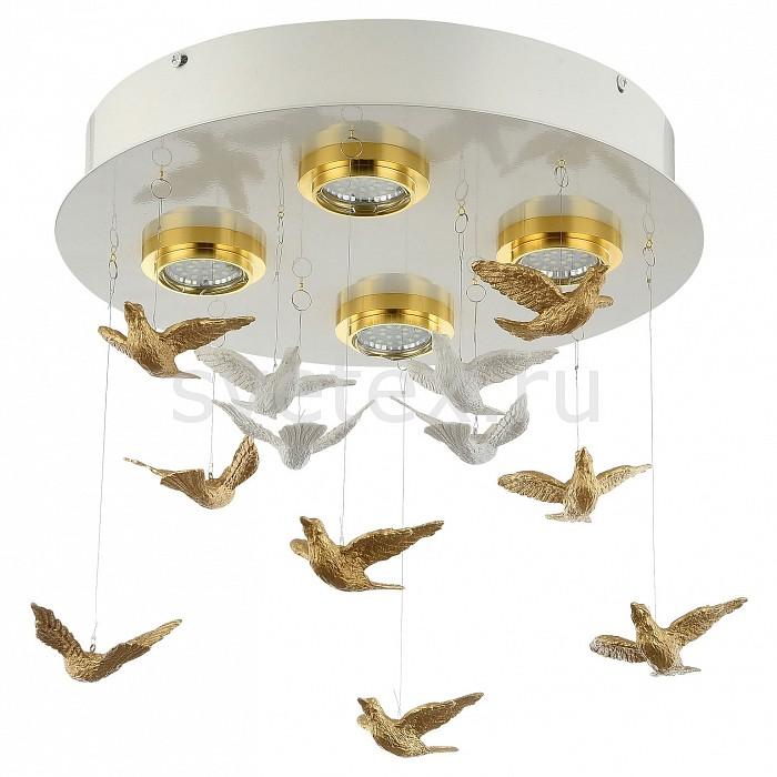 Накладной светильник FavouriteСветодиодные<br>Артикул - FV_1782-4U,Бренд - Favourite (Германия),Коллекция - Rudel,Гарантия, месяцы - 24,Высота, мм - 340,Диаметр, мм - 360,Тип лампы - светодиодная [LED],Общее кол-во ламп - 4,Напряжение питания лампы, В - 220,Максимальная мощность лампы, Вт - 5,Цвет лампы - белый теплый,Лампы в комплекте - светодиодные [LED] GU10,Цвет плафонов и подвесок - белый, золото,Тип поверхности плафонов - глянцевый, рефлектор,Материал плафонов и подвесок - металл,Цвет арматуры - белый, золото,Тип поверхности арматуры - глянцевый,Материал арматуры - металл,Возможность подлючения диммера - нельзя,Форма и тип колбы - полусферическая с рефлектором,Тип цоколя лампы - GU10,Цветовая температура, K - 2700 K,Световой поток, лм - 3000,Экономичнее лампы накаливания - в 10 раз,Светоотдача, лм/Вт - 150,Класс электробезопасности - I,Общая мощность, Вт - 20,Степень пылевлагозащиты, IP - 20,Диапазон рабочих температур - комнатная температура,Дополнительные параметры - способ крепления светильника к потолку - на монтажной пластине, декоративные птички из гипса белого и золотого цвета<br>