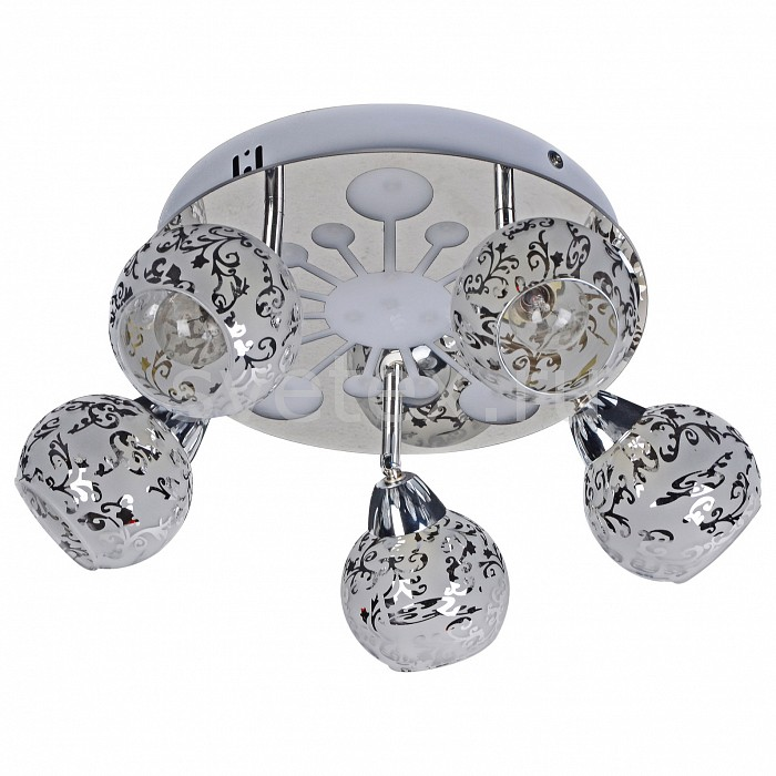 Накладной светильник SilverLightЛюстры с галогенными лампами и лампами накаливания<br>Артикул - SL_404.54.5,Бренд - SilverLight (Франция),Коллекция - Galaxy,Гарантия, месяцы - 12,Высота, мм - 210,Диаметр, мм - 420,Тип лампы - накаливания,Общее кол-во ламп - 5,Напряжение питания лампы, В - 220,Максимальная мощность лампы, Вт - 60,Цвет лампы - белый теплый,Лампы в комплекте - накаливания E14,Цвет плафонов и подвесок - белый с хромированным рисунком,Тип поверхности плафонов - глянцевый, матовый,Материал плафонов и подвесок - стекло,Цвет арматуры - хром,Тип поверхности арматуры - глянцевый,Материал арматуры - металл,Количество плафонов - 5,Возможность подлючения диммера - можно,Тип цоколя лампы - E14,Цветовая температура, K - 2400 - 2800 K,Класс электробезопасности - I,Общая мощность, Вт - 300,Степень пылевлагозащиты, IP - 20,Диапазон рабочих температур - комнатная температура,Дополнительные параметры - способ крепления светильника к потолку – на монтажной пластине, поворотный светильник<br>