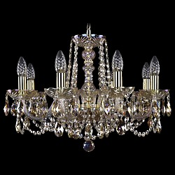 Подвесная люстра Bohemia Ivele CrystalБолее 6 ламп<br>Артикул - BI_1402_8_195_G_M701,Бренд - Bohemia Ivele Crystal (Чехия),Коллекция - 1402,Гарантия, месяцы - 24,Высота, мм - 400,Диаметр, мм - 570,Размер упаковки, мм - 450x450x200,Тип лампы - компактная люминесцентная [КЛЛ] ИЛИнакаливания ИЛИсветодиодная [LED],Общее кол-во ламп - 8,Напряжение питания лампы, В - 220,Максимальная мощность лампы, Вт - 40,Лампы в комплекте - отсутствуют,Цвет плафонов и подвесок - неокрашенный,Тип поверхности плафонов - прозрачный,Материал плафонов и подвесок - хрусталь Swarovski,Цвет арматуры - золото, неокрашенный,Тип поверхности арматуры - глянцевый, прозрачный, рельефный,Материал арматуры - металл, стекло Swarovski,Возможность подлючения диммера - можно, если установить лампу накаливания,Форма и тип колбы - свеча ИЛИ свеча на ветру,Тип цоколя лампы - E14,Класс электробезопасности - I,Общая мощность, Вт - 320,Степень пылевлагозащиты, IP - 20,Диапазон рабочих температур - комнатная температура,Дополнительные параметры - способ крепления светильника к потолку - на крюке, указана высота светильника без подвеса<br>