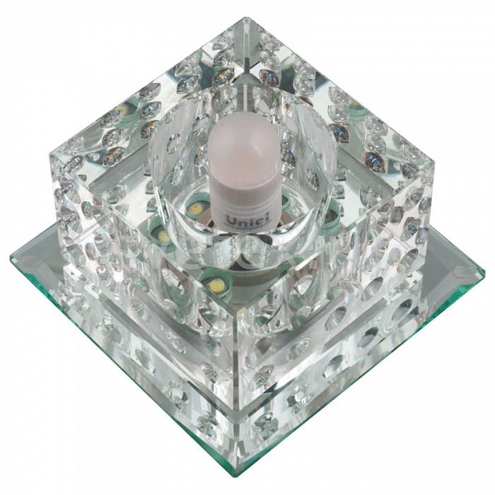Встраиваемый светильник UnielКвадратные<br>Примечание - прозрачный,Артикул - UL_10743,Бренд - Uniel (Китай),Коллекция - Luciole,Гарантия, месяцы - 24,Длина, мм - 90,Ширина, мм - 90,Высота, мм - 65,Выступ, мм - 47,Глубина, мм - 18,Размер врезного отверстия, мм - d70,Тип лампы - светодиодная (LED), галогеновая,Общее кол-во ламп - 1,Максимальная мощность лампы, Вт - 35,Лампы в комплекте - отсутствуют,Цвет плафонов и подвесок - неокрашенный, черный,Тип поверхности плафонов - прозрачный,Материал плафонов и подвесок - стекло,Цвет арматуры - неокрашенный,Тип поверхности арматуры - глянцевый,Материал арматуры - зеркало,Количество плафонов - 1,Возможность подлючения диммера - можно, если установить галогеновую лампу,Форма и тип колбы - пальчиковая,Тип цоколя лампы - G9,Класс электробезопасности - I,Напряжение питания, В - 220,Степень пылевлагозащиты, IP - 20,Диапазон рабочих температур - комнатная температура,Дополнительные параметры - светильник декорирован светодиодной подстветкой общей мощностью 1 Вт<br>