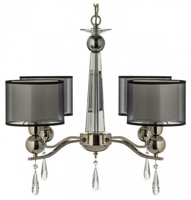 Подвесная люстра Arti LampadariТекстильные плафоны<br>Артикул - AL_Rufina_E_1.1.4.600_N,Бренд - Arti Lampadari (Италия),Коллекция - Rufina,Гарантия, месяцы - 24,Высота, мм - 500,Диаметр, мм - 680,Тип лампы - компактная люминесцентная [КЛЛ] ИЛИнакаливания ИЛИсветодиодная [LED],Общее кол-во ламп - 4,Напряжение питания лампы, В - 220,Максимальная мощность лампы, Вт - 40,Лампы в комплекте - отсутствуют,Цвет плафонов и подвесок - белый, неокрашенный, черный,Тип поверхности плафонов - матовый, прозрачный,Материал плафонов и подвесок - стекло, текстиль, хрусталь,Цвет арматуры - никель,Тип поверхности арматуры - глянцевый,Материал арматуры - металл,Количество плафонов - 4,Возможность подлючения диммера - можно, если установить лампу накаливания,Тип цоколя лампы - E14,Класс электробезопасности - I,Общая мощность, Вт - 160,Степень пылевлагозащиты, IP - 20,Диапазон рабочих температур - комнатная температура,Дополнительные параметры - способ крепления светильника к потолку - на крюке, указана высота светильника без подвеса<br>