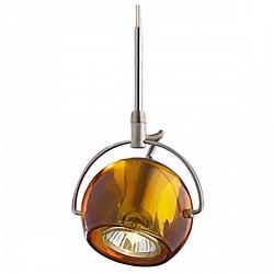 Подвесной светильник Odeon LightС 1 плафоном<br>Артикул - OD_1430_1A,Бренд - Odeon Light (Италия),Коллекция - Bolla,Гарантия, месяцы - 24,Время изготовления, дней - 1,Высота, мм - 1900,Тип лампы - галогеновая,Общее кол-во ламп - 1,Напряжение питания лампы, В - 220,Максимальная мощность лампы, Вт - 50,Лампы в комплекте - галогеновая GU10,Цвет плафонов и подвесок - коричневый,Тип поверхности плафонов - прозрачный,Материал плафонов и подвесок - стекло,Цвет арматуры - никель,Тип поверхности арматуры - матовый,Материал арматуры - металл,Возможность подлючения диммера - можно,Форма и тип колбы - полусферическая с рефлектором,Тип цоколя лампы - GU10,Класс электробезопасности - I,Степень пылевлагозащиты, IP - 20,Диапазон рабочих температур - комнатная температура<br>