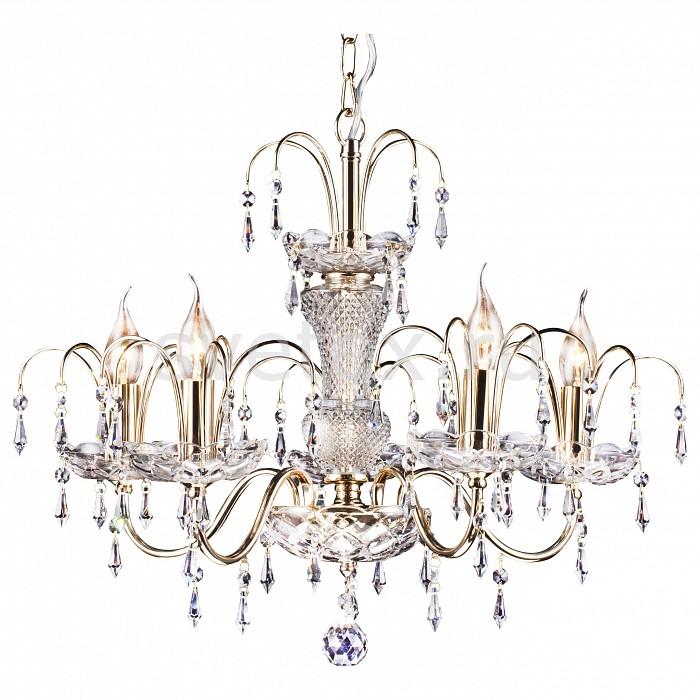 Подвесная люстра Arte Lamp5 или 6 ламп<br>Артикул - AR_A3054LM-5GO,Бренд - Arte Lamp (Италия),Коллекция - Sparkles,Гарантия, месяцы - 24,Высота, мм - 470-1440,Диаметр, мм - 630,Размер упаковки, мм - 1080x460x290,Тип лампы - компактная люминесцентная [КЛЛ] ИЛИнакаливания ИЛИсветодиодная [LED],Общее кол-во ламп - 5,Напряжение питания лампы, В - 220,Максимальная мощность лампы, Вт - 60,Лампы в комплекте - отсутствуют,Цвет плафонов и подвесок - неокрашенный,Тип поверхности плафонов - прозрачный,Материал плафонов и подвесок - хрусталь,Цвет арматуры - золото, неокрашенный,Тип поверхности арматуры - глянцевый, прозрачный,Материал арматуры - металл, стекло,Возможность подлючения диммера - можно, если установить лампу накаливания,Форма и тип колбы - свеча ИЛИ свеча на ветру,Тип цоколя лампы - E14,Класс электробезопасности - I,Общая мощность, Вт - 300,Степень пылевлагозащиты, IP - 20,Диапазон рабочих температур - комнатная температура,Дополнительные параметры - способ крепления светильника к потолку - на крюке<br>
