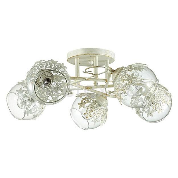 Потолочная люстра LumionЛюстры<br>Артикул - LMN_3041_5C,Бренд - Lumion (Италия),Коллекция - Florana,Гарантия, месяцы - 24,Высота, мм - 200,Диаметр, мм - 480,Размер упаковки, мм - 170x400x400,Тип лампы - компактная люминесцентная [КЛЛ] ИЛИнакаливания ИЛИсветодиодная [LED],Общее кол-во ламп - 5,Напряжение питания лампы, В - 220,Максимальная мощность лампы, Вт - 40,Лампы в комплекте - отсутствуют,Цвет плафонов и подвесок - белый, неокрашенный,Тип поверхности плафонов - прозрачный,Материал плафонов и подвесок - металл, стекло,Цвет арматуры - белый с золотой патиной,Тип поверхности арматуры - матовый,Материал арматуры - металл,Количество плафонов - 5,Возможность подлючения диммера - можно, если установить лампу накаливания,Тип цоколя лампы - E14,Класс электробезопасности - I,Общая мощность, Вт - 200,Степень пылевлагозащиты, IP - 20,Диапазон рабочих температур - комнатная температура,Дополнительные параметры - способ крепления к потолку - на монтажной пластине<br>