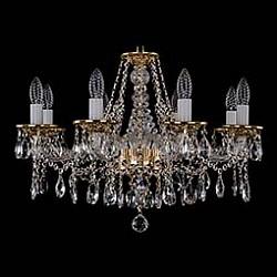 Подвесная люстра Bohemia Ivele CrystalБолее 6 ламп<br>Артикул - BI_1613_8_220_G,Бренд - Bohemia Ivele Crystal (Чехия),Коллекция - 1613,Гарантия, месяцы - 12,Высота, мм - 410,Диаметр, мм - 630,Размер упаковки, мм - 450x450x200,Тип лампы - компактная люминесцентная [КЛЛ] ИЛИнакаливания ИЛИсветодиодная [LED],Общее кол-во ламп - 8,Напряжение питания лампы, В - 220,Максимальная мощность лампы, Вт - 40,Лампы в комплекте - отсутствуют,Цвет плафонов и подвесок - неокрашенный,Тип поверхности плафонов - прозрачный,Материал плафонов и подвесок - хрусталь,Цвет арматуры - золото, неокрашенный,Тип поверхности арматуры - глянцевый, прозрачный,Материал арматуры - металл, стекло,Возможность подлючения диммера - можно, если установить лампу накаливания,Форма и тип колбы - свеча ИЛИ свеча на ветру,Тип цоколя лампы - E14,Класс электробезопасности - I,Общая мощность, Вт - 320,Степень пылевлагозащиты, IP - 20,Диапазон рабочих температур - комнатная температура,Дополнительные параметры - способ крепления светильника к потолку – на крюке<br>