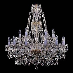 Подвесная люстра Bohemia Ivele CrystalБолее 6 ламп<br>Артикул - BI_1411_12_6_300_G,Бренд - Bohemia Ivele Crystal (Чехия),Коллекция - 1411,Гарантия, месяцы - 12,Высота, мм - 950,Диаметр, мм - 800,Размер упаковки, мм - 640x640x320,Тип лампы - компактная люминесцентная [КЛЛ] ИЛИнакаливания ИЛИсветодиодная [LED],Общее кол-во ламп - 18,Напряжение питания лампы, В - 220,Максимальная мощность лампы, Вт - 40,Лампы в комплекте - отсутствуют,Цвет плафонов и подвесок - неокрашенный,Тип поверхности плафонов - прозрачный,Материал плафонов и подвесок - хрусталь,Цвет арматуры - золото, неокрашенный,Тип поверхности арматуры - глянцевый, прозрачный,Материал арматуры - металл, стекло,Возможность подлючения диммера - можно, если установить лампу накаливания,Форма и тип колбы - свеча ИЛИ свеча на ветру,Тип цоколя лампы - E14,Класс электробезопасности - I,Общая мощность, Вт - 720,Степень пылевлагозащиты, IP - 20,Диапазон рабочих температур - комнатная температура,Дополнительные параметры - способ крепления светильника к потолку – на крюке<br>