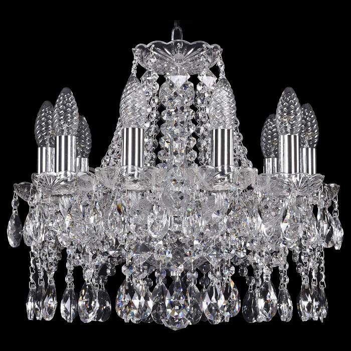 Подвесная люстра Bohemia Ivele CrystalБолее 6 ламп<br>Артикул - BI_1413_10_141_Ni,Бренд - Bohemia Ivele Crystal (Чехия),Коллекция - 1413,Гарантия, месяцы - 24,Высота, мм - 360,Диаметр, мм - 470,Размер упаковки, мм - 510x510x200,Тип лампы - компактная люминесцентная [КЛЛ] ИЛИнакаливания ИЛИсветодиодная [LED],Общее кол-во ламп - 10,Напряжение питания лампы, В - 220,Максимальная мощность лампы, Вт - 40,Лампы в комплекте - отсутствуют,Цвет плафонов и подвесок - неокрашенный,Тип поверхности плафонов - прозрачный,Материал плафонов и подвесок - хрусталь,Цвет арматуры - никель, неокрашенный,Тип поверхности арматуры - матовый, прозрачный,Материал арматуры - металл, стекло,Возможность подлючения диммера - можно, если установить лампу накаливания,Форма и тип колбы - свеча ИЛИ свеча на ветру,Тип цоколя лампы - E14,Класс электробезопасности - I,Общая мощность, Вт - 400,Степень пылевлагозащиты, IP - 20,Диапазон рабочих температур - комнатная температура,Дополнительные параметры - способ крепления светильника к потолку - на крюке, указана высота светильники без подвеса<br>