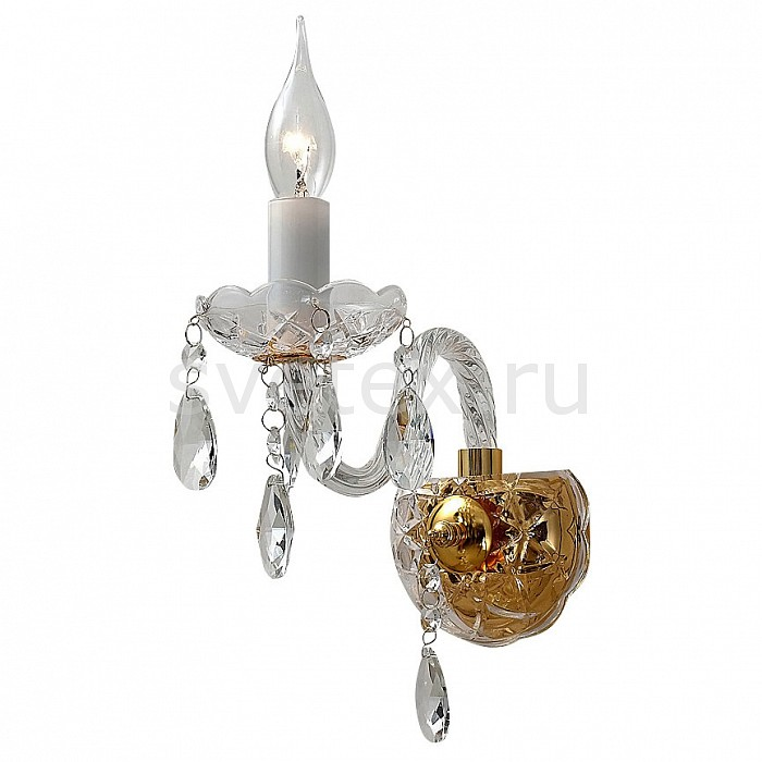 Бра FavouriteС 1 лампой<br>Артикул - FV_1735-1W,Бренд - Favourite (Германия),Коллекция - Monreal,Гарантия, месяцы - 24,Ширина, мм - 120,Высота, мм - 330,Выступ, мм - 210,Тип лампы - компактная люминесцентная [КЛЛ] ИЛИнакаливания ИЛИсветодиодная [LED],Общее кол-во ламп - 1,Напряжение питания лампы, В - 220,Максимальная мощность лампы, Вт - 40,Лампы в комплекте - отсутствуют,Цвет плафонов и подвесок - неокрашенный,Тип поверхности плафонов - прозрачный,Материал плафонов и подвесок - хрусталь,Цвет арматуры - белый, золото, неокрашенный,Тип поверхности арматуры - глянцевый, прозрачный,Материал арматуры - металл, стекло,Возможность подлючения диммера - можно, если установить лампу накаливания,Форма и тип колбы - свеча ИЛИ свеча на ветру,Тип цоколя лампы - E14,Класс электробезопасности - I,Степень пылевлагозащиты, IP - 20,Диапазон рабочих температур - комнатная температура,Дополнительные параметры - светильник предназначен для использования со скрытой проводкой<br>