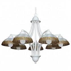Подвесная люстра АврораБолее 6 ламп<br>Артикул - AV_10053-7L,Бренд - Аврора (Россия),Коллекция - Афина,Гарантия, месяцы - 24,Высота, мм - 540-1690,Диаметр, мм - 640,Тип лампы - компактная люминесцентная [КЛЛ] ИЛИнакаливания ИЛИсветодиодная [LED],Общее кол-во ламп - 7,Напряжение питания лампы, В - 220,Максимальная мощность лампы, Вт - 60,Лампы в комплекте - отсутствуют,Тип поверхности плафонов - матовый,Материал плафонов и подвесок - стекло,Цвет арматуры - белый с золотой патиной,Тип поверхности арматуры - матовый,Материал арматуры - металл,Возможность подлючения диммера - можно, если установить лампу накаливания,Тип цоколя лампы - E14,Класс электробезопасности - I,Общая мощность, Вт - 420,Степень пылевлагозащиты, IP - 20,Диапазон рабочих температур - комнатная температура,Дополнительные параметры - способ крепления светильника к потолку – на крюке, регулируется по высоте<br>