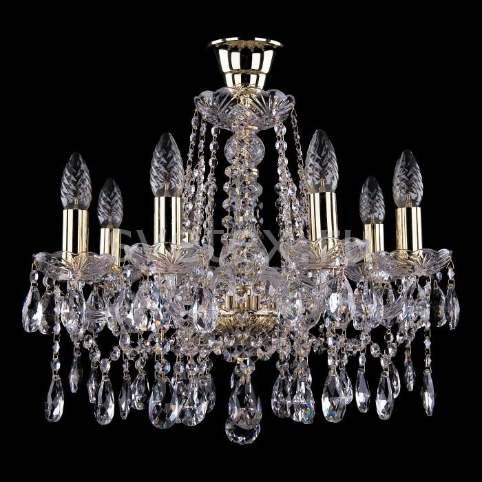 Подвесная люстра Bohemia Ivele CrystalБолее 6 ламп<br>Артикул - BI_1413_8_165_G_Tube,Бренд - Bohemia Ivele Crystal (Чехия),Коллекция - 1413,Гарантия, месяцы - 24,Высота, мм - 400,Диаметр, мм - 510,Размер упаковки, мм - 450x450x200,Тип лампы - компактная люминесцентная [КЛЛ] ИЛИнакаливания ИЛИсветодиодная [LED],Общее кол-во ламп - 8,Напряжение питания лампы, В - 220,Максимальная мощность лампы, Вт - 40,Лампы в комплекте - отсутствуют,Цвет плафонов и подвесок - неокрашенный,Тип поверхности плафонов - прозрачный,Материал плафонов и подвесок - хрусталь,Цвет арматуры - золото, неокрашенный,Тип поверхности арматуры - глянцевый, прозрачный, рельефный,Материал арматуры - металл, стекло,Возможность подлючения диммера - можно, если установить лампу накаливания,Форма и тип колбы - свеча ИЛИ свеча на ветру,Тип цоколя лампы - E14,Класс электробезопасности - I,Общая мощность, Вт - 320,Степень пылевлагозащиты, IP - 20,Диапазон рабочих температур - комнатная температура,Дополнительные параметры - способ крепления светильника к потолку - на крюке, указана высота светильника без подвеса<br>