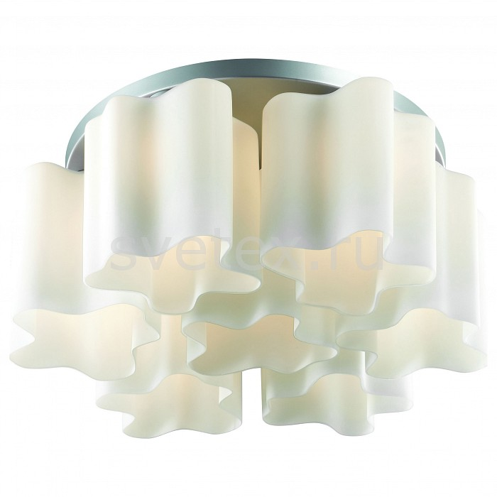 Потолочная люстра ST-LuceЛюстры<br>Артикул - SL116.502.07,Бренд - ST-Luce (Китай),Коллекция - Onde,Гарантия, месяцы - 24,Время изготовления, дней - 1,Высота, мм - 250,Диаметр, мм - 580,Тип лампы - компактная люминесцентная [КЛЛ] ИЛИнакаливания ИЛИсветодиодная [LED],Общее кол-во ламп - 7,Напряжение питания лампы, В - 220,Максимальная мощность лампы, Вт - 60,Лампы в комплекте - отсутствуют,Цвет плафонов и подвесок - белый,Тип поверхности плафонов - матовый,Материал плафонов и подвесок - стекло,Цвет арматуры - серебро,Тип поверхности арматуры - матовый,Материал арматуры - металл,Количество плафонов - 7,Возможность подлючения диммера - можно, если установить лампу накаливания,Тип цоколя лампы - E27,Класс электробезопасности - I,Общая мощность, Вт - 420,Степень пылевлагозащиты, IP - 20,Диапазон рабочих температур - комнатная температура,Дополнительные параметры - способ крепления светильника к потолку – на монтажной пластине<br>
