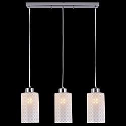 Подвесной светильник EurosvetСветодиодные<br>Артикул - EV_76423,Бренд - Eurosvet (Китай),Коллекция - 50011,Гарантия, месяцы - 24,Высота, мм - 950,Тип лампы - компактная люминесцентная [КЛЛ] ИЛИнакаливания ИЛИсветодиодная [LED],Общее кол-во ламп - 3,Напряжение питания лампы, В - 220,Максимальная мощность лампы, Вт - 60,Лампы в комплекте - отсутствуют,Цвет плафонов и подвесок - белый с рисунком,Тип поверхности плафонов - матовый,Материал плафонов и подвесок - стекло,Цвет арматуры - хром,Тип поверхности арматуры - глянцевый,Материал арматуры - металл,Возможность подлючения диммера - можно, если установить лампу накаливания,Тип цоколя лампы - E27,Класс электробезопасности - I,Общая мощность, Вт - 180,Степень пылевлагозащиты, IP - 20,Диапазон рабочих температур - комнатная температура,Дополнительные параметры - способ крепления светильника к потолку - на монтажной пластине, регулируется по высоте<br>