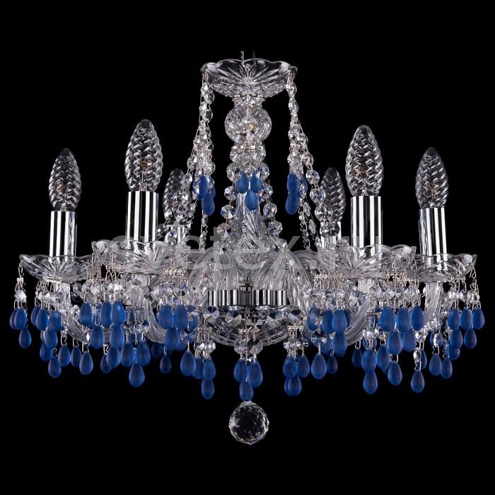 Подвесная люстра Bohemia Ivele Crystal5 или 6 ламп<br>Артикул - BI_1410_6_160_Ni_V3001,Бренд - Bohemia Ivele Crystal (Чехия),Коллекция - 1410,Гарантия, месяцы - 24,Высота, мм - 390,Диаметр, мм - 480,Размер упаковки, мм - 450x450x200,Тип лампы - компактная люминесцентная [КЛЛ] ИЛИнакаливания ИЛИсветодиодная [LED],Общее кол-во ламп - 6,Напряжение питания лампы, В - 220,Максимальная мощность лампы, Вт - 40,Лампы в комплекте - отсутствуют,Цвет плафонов и подвесок - неокрашенный, синий,Тип поверхности плафонов - матовый, прозрачный,Материал плафонов и подвесок - хрусталь,Цвет арматуры - неокрашенный, никель,Тип поверхности арматуры - глянцевый, прозрачный, рельефный,Материал арматуры - металл, стекло,Возможность подлючения диммера - можно, если установить лампу накаливания,Форма и тип колбы - свеча ИЛИ свеча на ветру,Тип цоколя лампы - E14,Класс электробезопасности - I,Общая мощность, Вт - 240,Степень пылевлагозащиты, IP - 20,Диапазон рабочих температур - комнатная температура,Дополнительные параметры - способ крепления светильника к потолку - на крюке, указана высота светильника без подвеса<br>