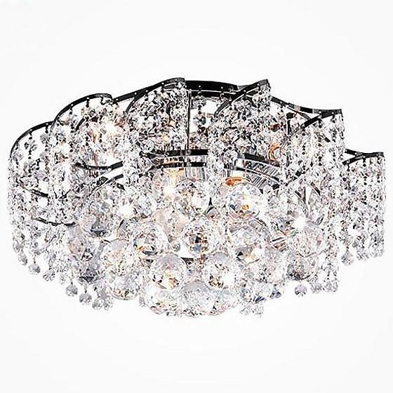 Накладной светильник StrotskisНакладные светильники<br>Артикул - EV_78493,Бренд - Strotskis (Китай),Коллекция - Charm,Гарантия, месяцы - 24,Высота, мм - 160,Диаметр, мм - 390,Тип лампы - компактная люминесцентная [КЛЛ] ИЛИнакаливания ИЛИсветодиодная [LED],Общее кол-во ламп - 6,Напряжение питания лампы, В - 220,Максимальная мощность лампы, Вт - 60,Лампы в комплекте - отсутствуют,Цвет плафонов и подвесок - неокрашенный,Тип поверхности плафонов - прозрачный,Материал плафонов и подвесок - хрусталь,Цвет арматуры - хром,Тип поверхности арматуры - глянцевый,Материал арматуры - металл,Возможность подлючения диммера - можно, если установить лампу накаливания,Тип цоколя лампы - E27,Класс электробезопасности - I,Общая мощность, Вт - 360,Степень пылевлагозащиты, IP - 20,Диапазон рабочих температур - комнатная температура,Дополнительные параметры - способ крепления светильника к потолку - на монтажной пластине<br>