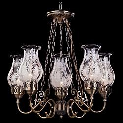 Подвесная люстра Eurosvet5 или 6 ламп<br>Артикул - EV_7303,Бренд - Eurosvet (Китай),Коллекция - 22804,Гарантия, месяцы - 24,Высота, мм - 520-1080,Диаметр, мм - 540,Тип лампы - компактная люминесцентная [КЛЛ] ИЛИнакаливания ИЛИсветодиодная [LED],Общее кол-во ламп - 6,Напряжение питания лампы, В - 220,Максимальная мощность лампы, Вт - 60,Лампы в комплекте - отсутствуют,Цвет плафонов и подвесок - неокрашенный с белым рисунком,Тип поверхности плафонов - прозрачный,Материал плафонов и подвесок - стекло,Цвет арматуры - бронза античная,Тип поверхности арматуры - глянцевый,Материал арматуры - металл,Тип цоколя лампы - E14,Класс электробезопасности - I,Общая мощность, Вт - 360,Степень пылевлагозащиты, IP - 20,Диапазон рабочих температур - комнатная температура<br>