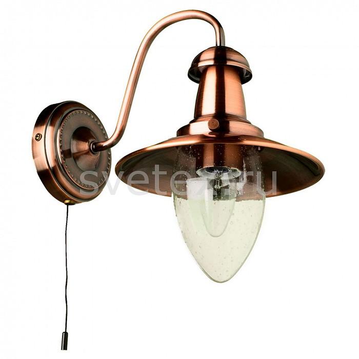 Бра Arte LampНастенные светильники<br>Артикул - AR_A5518AP-1RB,Бренд - Arte Lamp (Италия),Коллекция - Fisherman,Гарантия, месяцы - 24,Время изготовления, дней - 1,Ширина, мм - 180,Высота, мм - 260,Выступ, мм - 260,Тип лампы - компактная люминесцентная [КЛЛ] ИЛИнакаливания ИЛИсветодиодная [LED],Общее кол-во ламп - 1,Напряжение питания лампы, В - 220,Максимальная мощность лампы, Вт - 60,Лампы в комплекте - отсутствуют,Цвет плафонов и подвесок - неокрашенный,Тип поверхности плафонов - прозрачный,Материал плафонов и подвесок - стекло,Цвет арматуры - бронза красная,Тип поверхности арматуры - матовый,Материал арматуры - металл,Количество плафонов - 1,Наличие выключателя, диммера или пульта ДУ - выключатель шнуровой,Возможность подлючения диммера - можно, если установить лампу накаливания,Тип цоколя лампы - E27,Класс электробезопасности - I,Степень пылевлагозащиты, IP - 20,Диапазон рабочих температур - комнатная температура,Дополнительные параметры - светильник предназначен для использования со скрытой проводкой<br>