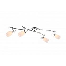Спот GloboС 4 лампами<br>Артикул - GB_54983-4,Бренд - Globo (Австрия),Коллекция - Gillian,Гарантия, месяцы - 24,Время изготовления, дней - 1,Тип лампы - компактная люминесцентная [КЛЛ] ИЛИнакаливания ИЛИсветодиодная [LED],Общее кол-во ламп - 4,Напряжение питания лампы, В - 220,Максимальная мощность лампы, Вт - 40,Лампы в комплекте - отсутствуют,Цвет плафонов и подвесок - белый,Тип поверхности плафонов - матовый,Материал плафонов и подвесок - стекло,Цвет арматуры - никель, хром,Тип поверхности арматуры - глянцевый, матовый,Материал арматуры - металл,Возможность подлючения диммера - можно, если установить лампу накаливания,Форма и тип колбы - свеча,Тип цоколя лампы - E14,Класс электробезопасности - I,Общая мощность, Вт - 160,Степень пылевлагозащиты, IP - 20,Диапазон рабочих температур - комнатная температура,Дополнительные параметры - поворотный светильник<br>