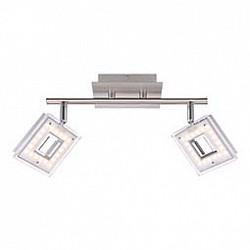 Спот GloboС 2 лампами<br>Артикул - GB_56138-2,Бренд - Globo (Австрия),Коллекция - Kerstin,Гарантия, месяцы - 24,Тип лампы - светодиодная [LED],Общее кол-во ламп - 2,Напряжение питания лампы, В - 130,Максимальная мощность лампы, Вт - 4, 2,Лампы в комплекте - светодиодные [LED],Цвет плафонов и подвесок - белый с неокрашенной каймой,Тип поверхности плафонов - матовый,Материал плафонов и подвесок - акрил,Цвет арматуры - никель, хром,Тип поверхности арматуры - глянцевый, матовый,Материал арматуры - металл,Количество плафонов - 2,Возможность подлючения диммера - нельзя,Класс электробезопасности - I,Общая мощность, Вт - 8,Степень пылевлагозащиты, IP - 20,Диапазон рабочих температур - комнатная температура,Дополнительные параметры - способ крепления светильника к стене и потолку - на монтажной пластине, поворотный светильник<br>